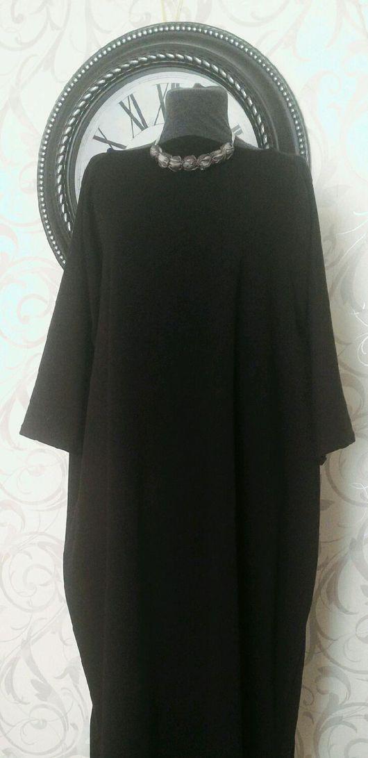 Платья ручной работы. Ярмарка Мастеров - ручная работа. Купить Платье-размахайка оверсайз трикотажное черное. Handmade. Платье, оверсайз