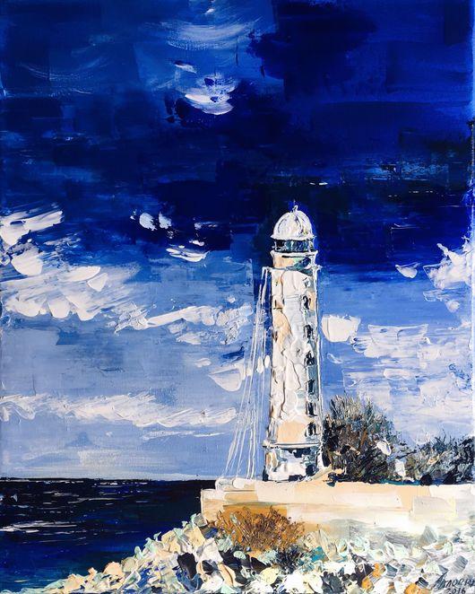 Пейзаж ручной работы. Ярмарка Мастеров - ручная работа. Купить Херсонесский маяк. Handmade. Море, херсонесс, акрил