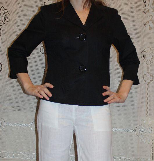 Пиджаки, жакеты ручной работы. Ярмарка Мастеров - ручная работа. Купить Льняной пиджак. Handmade. Черный, женская одежда