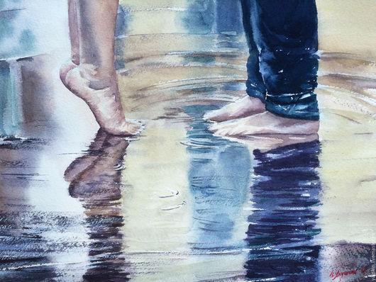"""Люди, ручной работы. Ярмарка Мастеров - ручная работа. Купить """"Первая любовь"""" акварельная картина. Handmade. Комбинированный, стопы, девушка"""