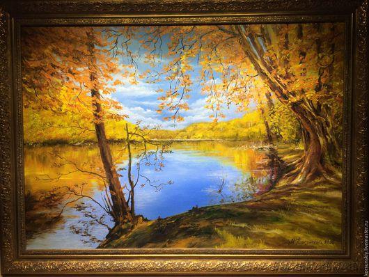 Пейзаж ручной работы. Ярмарка Мастеров - ручная работа. Купить Осень. Handmade. Золотой, пейзаж, озеро, рама багет, кисти