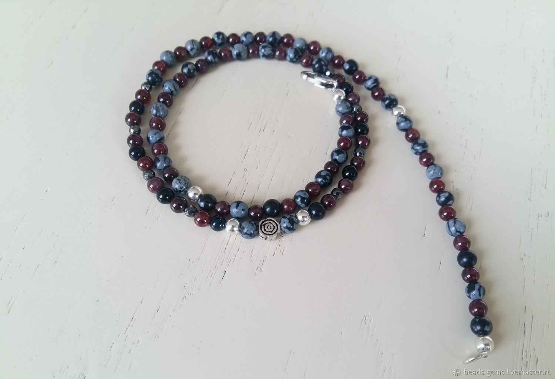 Beads Obsidian Garnet 925 sterling Silver, Necklace, Bryansk,  Фото №1