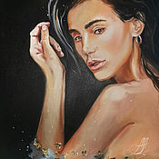 Картины и панно handmade. Livemaster - original item Portrait oil painting with gold leaf, painting with a girl. Handmade.