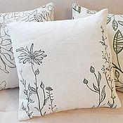 Для дома и интерьера handmade. Livemaster - original item Linen pillow with painting. Handmade.