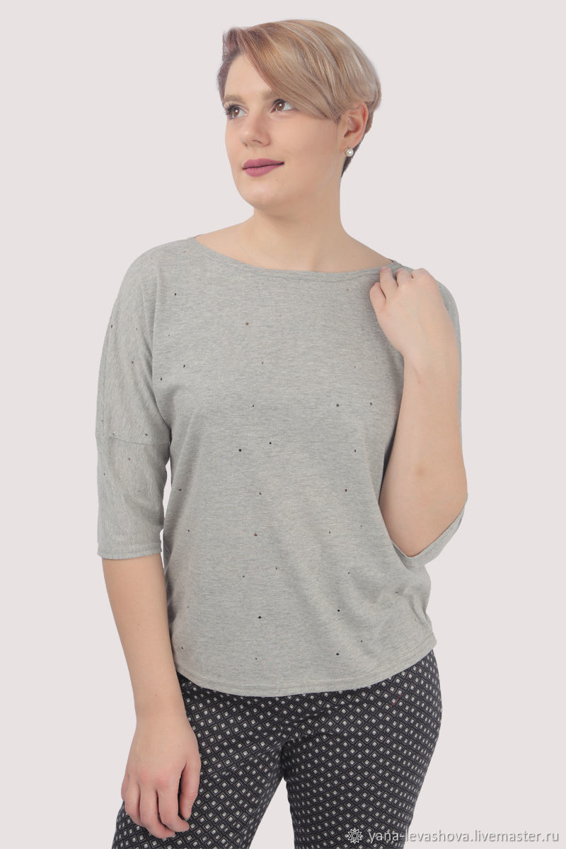 Grey t shirt with holes in the style of grunge oversize, T-shirts, Moscow,  Фото №1