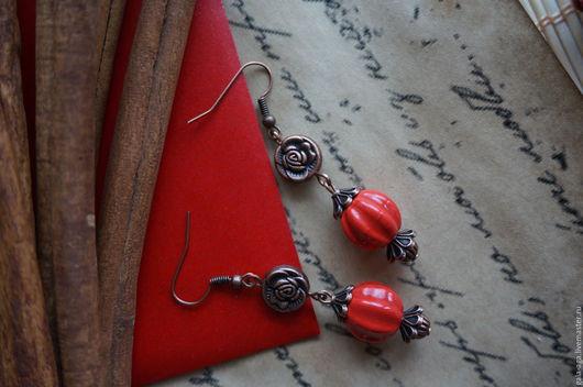"""Серьги ручной работы. Ярмарка Мастеров - ручная работа. Купить Серьги """"Роза красная"""". Handmade. Ярко-красный, длинные серьги"""