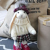 Куклы и игрушки handmade. Livemaster - original item Toy Bunny in the cap with pompom. Handmade.