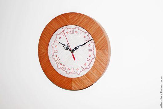 Часы для дома ручной работы. Ярмарка Мастеров - ручная работа. Купить Часы деревянные круглые на стену - настенные часы красные. Handmade.