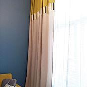 Для дома и интерьера ручной работы. Ярмарка Мастеров - ручная работа Шторы фактурные с горчичным кантом. Handmade.