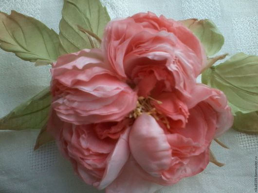 """Цветы ручной работы. Ярмарка Мастеров - ручная работа. Купить Роза из шелка """"Юнона"""". Handmade. Коралловый, роза из шелка"""
