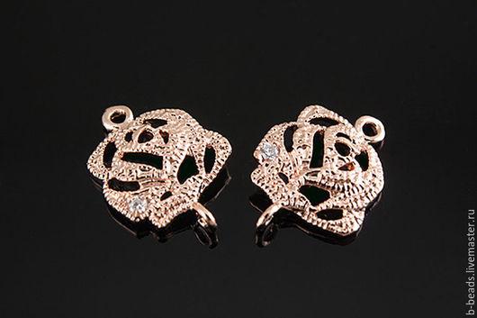 """Для украшений ручной работы. Ярмарка Мастеров - ручная работа. Купить Коннектор розовая позолота """" Роза """" с цирконами. Handmade."""