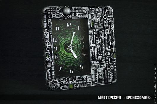 Часы для дома ручной работы. Ярмарка Мастеров - ручная работа. Купить Часы в стиле киберпанк. Handmade. Темно-серый, дизельпанк