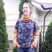 Одежда ручной работы. Ярмарка Мастеров - ручная работа Валяный свитшот с вязанными рукавами. Handmade.