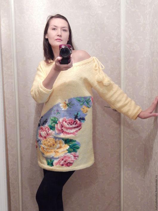 Платья ручной работы. Ярмарка Мастеров - ручная работа. Купить Платье с цветочной бабочкой. Handmade. Вышивка на одежде, полушерстяная пряжа