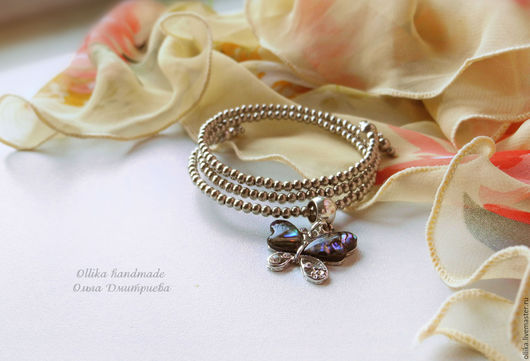 Браслет Маленькая Нежная Бабочка  браслет под серебро, женский тонкий браслет, модное украшение на руку, серебряный браслет, для девушки для женщины, браслет с перламутром, браслет в питере купить, н