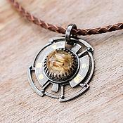 Pendants handmade. Livemaster - original item Sterling silver Pendant with golden rutile Quartz. Handmade.
