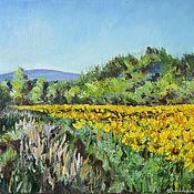 Pictures handmade. Livemaster - original item landscape with sunflowers. Handmade.