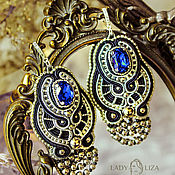 Украшения handmade. Livemaster - original item Soutache earrings Feathers Art Deco. Blue earrings. bead earrings.. Handmade.