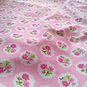 Материалы для творчества handmade. Livemaster - original item Supplex fabric for swimwear Pink Flowers and Pots. Handmade.