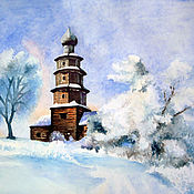 Картины и панно handmade. Livemaster - original item Watercolour Winter landscape with a church. Handmade.