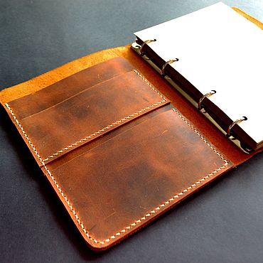 Канцелярские товары ручной работы. Ярмарка Мастеров - ручная работа Кожаный винтажный блокнот на кольцах А5. Handmade.