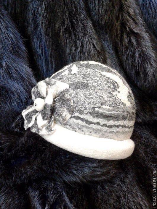 Шляпы ручной работы. Ярмарка Мастеров - ручная работа. Купить Шляпка валяная. Handmade. Чёрно-белый, подарок для женщины