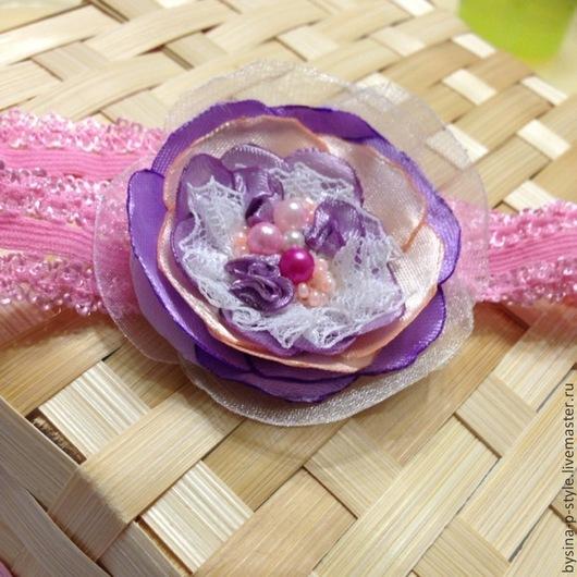 """Детская бижутерия ручной работы. Ярмарка Мастеров - ручная работа. Купить """"Жемчужно-кружевной цветочек"""". Handmade. Розовый, повязка с цветком"""