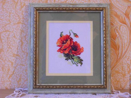 """Картины цветов ручной работы. Ярмарка Мастеров - ручная работа. Купить Вышитая картина""""Маки"""",24х25см. Handmade. Комбинированный, вышивка"""