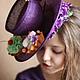 """Шляпы ручной работы. Ярмарка Мастеров - ручная работа. Купить Эксклюзивная шляпка """"La Gourmande"""" (Лакомка). Handmade. Тёмно-фиолетовый"""