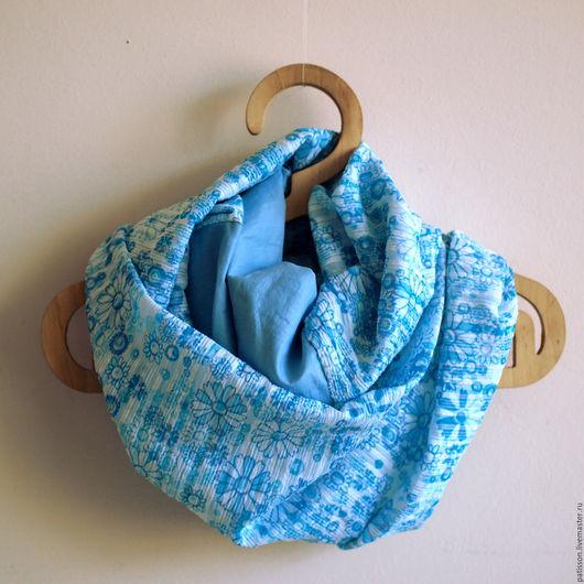 """Шарфы и шарфики ручной работы. Ярмарка Мастеров - ручная работа. Купить Шарф женский """"Голубые цветы"""". Handmade. Голубой"""