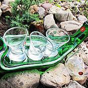 """Сувениры и подарки ручной работы. Ярмарка Мастеров - ручная работа """"Зелёный гусь"""", набор подарочный. Пьяная бутылка+3 пьяные рюмки.. Handmade."""