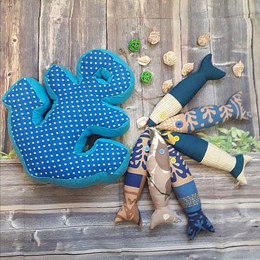 Текстиль ручной работы. Ярмарка Мастеров - ручная работа Комплект в морском стиле(якорь+ текстильные рыбки). Handmade.
