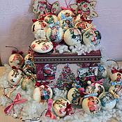 """Для дома и интерьера ручной работы. Ярмарка Мастеров - ручная работа Большой набор """"В гостях у деда мороза"""" елочные шары. Handmade."""