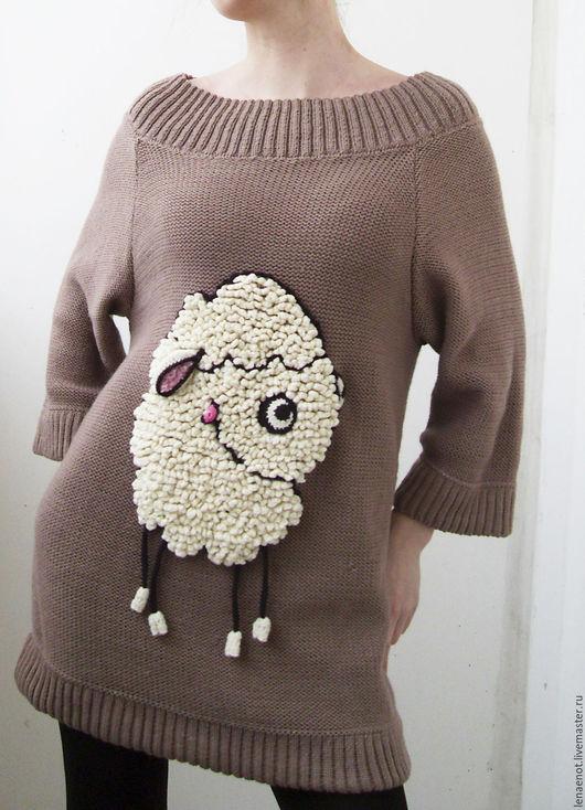 Платья ручной работы. Ярмарка Мастеров - ручная работа. Купить Платье вязаное с овечкой. Handmade. Бежевый, платье вязаное