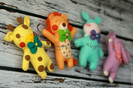 Игрушки животные, ручной работы. Ярмарка Мастеров - ручная работа. Купить Игрушки из фетра - слоник, бегемотик, жирафик и львенок. Handmade.
