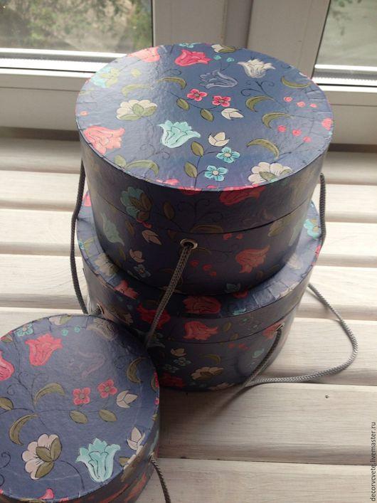 """Упаковка ручной работы. Ярмарка Мастеров - ручная работа. Купить Круглая коробка с рисунком """"Восточные цветы"""". Handmade. коробка с рисунком"""