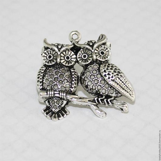 Металлическая подвеска `Влюблённые совы`