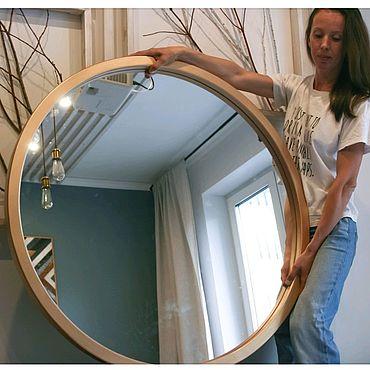 Для дома и интерьера ручной работы. Ярмарка Мастеров - ручная работа Зеркало большое круглое в деревянной раме настенное. Handmade.