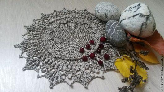 Текстиль, ковры ручной работы. Ярмарка Мастеров - ручная работа. Купить Вязаная крючком льняная салфетка Лауда. Handmade. Серый
