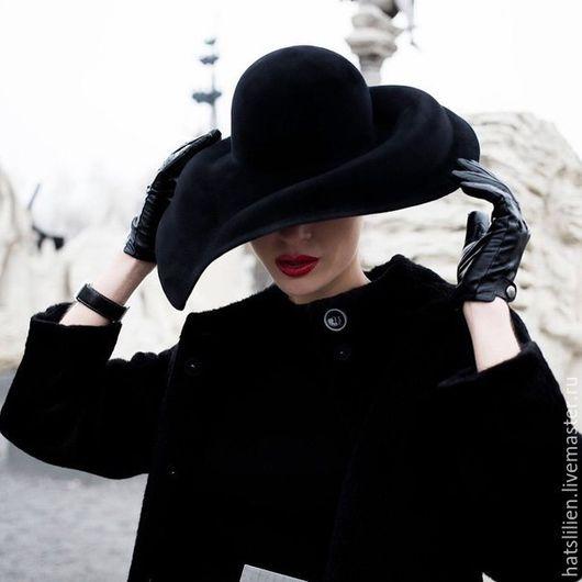 """Шляпы ручной работы. Ярмарка Мастеров - ручная работа. Купить Велюровая шляпка """"Безе"""". Handmade. Черный, необычное украшение, велюр"""
