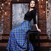 """Skirts handmade. Livemaster - original item Юбка полусолнце """"Голубой тартан"""". Handmade."""