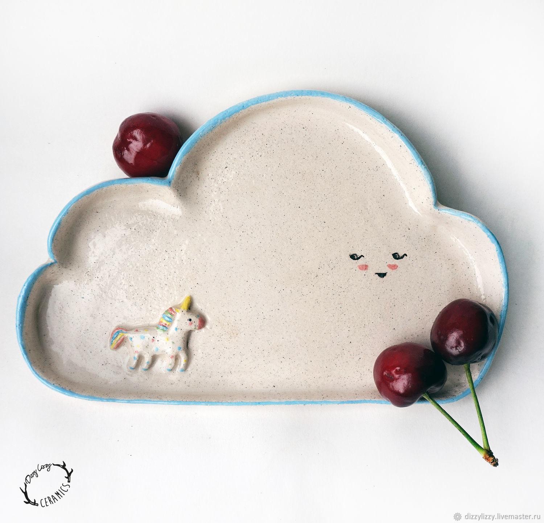 Тарелочка керамическая фигурная Облако с единорогом из белой глины, Тарелки, Санкт-Петербург,  Фото №1