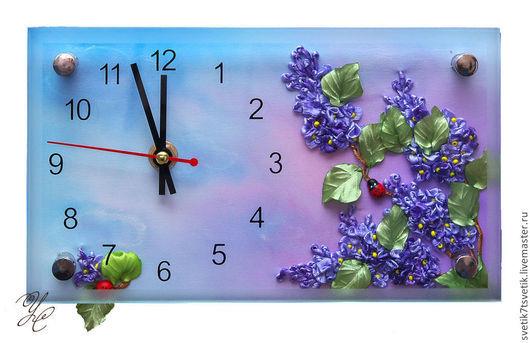 """Часы для дома ручной работы. Ярмарка Мастеров - ручная работа. Купить Часы вышитые с цветами сирени """"Сиреневые грёзы"""". Handmade."""