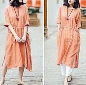 Одежда ручной работы. Ярмарка Мастеров - ручная работа Оранжевый шнурок талия платье. Handmade.