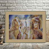Pictures handmade. Livemaster - original item Four baby goats pastel Painting (brown blue white). Handmade.