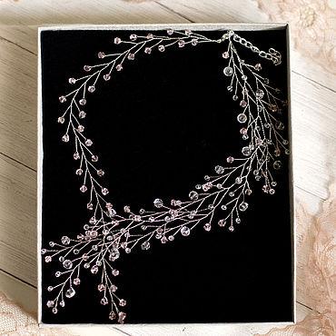 Свадебный салон ручной работы. Ярмарка Мастеров - ручная работа Свадебное колье, свадебное ожерелье с розовыми камнями. Handmade.
