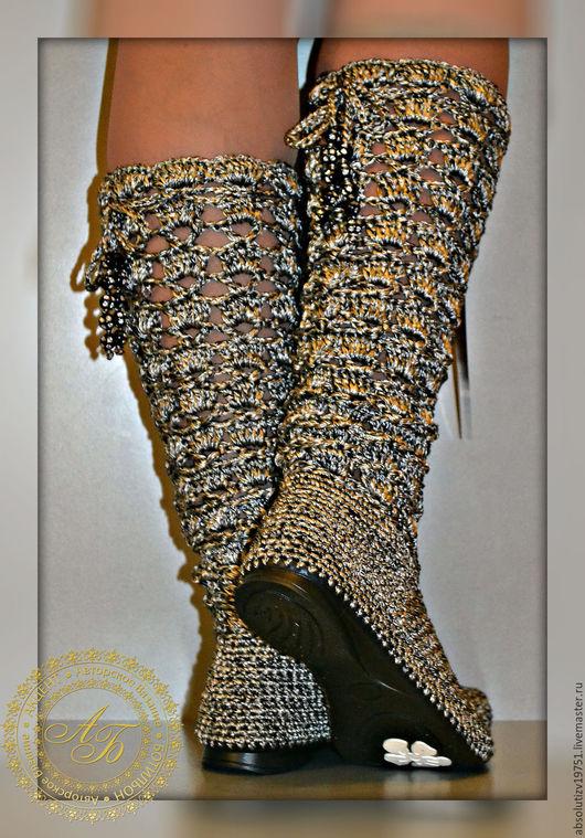 """Обувь ручной работы. Ярмарка Мастеров - ручная работа. Купить Сапожки """"Ажур""""...Металлик.... Handmade. Серебряный, обувь летняя"""