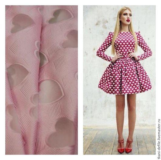 Шитье ручной работы. Ярмарка Мастеров - ручная работа. Купить Итальянские ткани. Фактурный шелк с сердечками из органзы. Handmade. Розовый