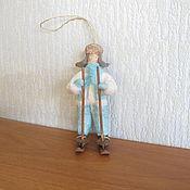 Подарки к праздникам ручной работы. Ярмарка Мастеров - ручная работа Мальчик на лыжах. Ватные елочные игрушки. Handmade.