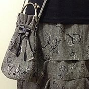 Одежда ручной работы. Ярмарка Мастеров - ручная работа Серенькая с защипами. Юбка с сумкой. Handmade.